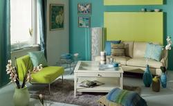 Kolory wnętrz: salon w kolorze niebieskim i turkusowym
