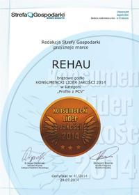 Konsumencki Lider Jakości 2014 dla REHAU